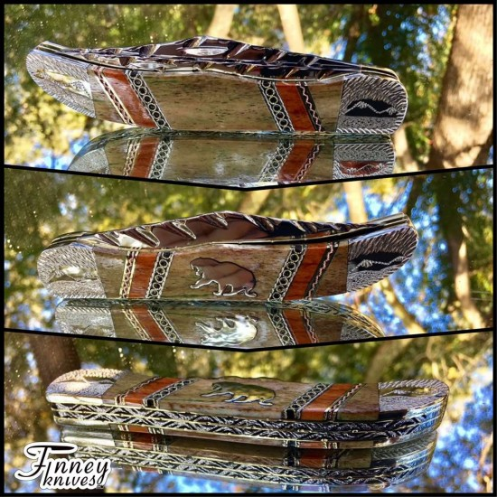 Case XX Large 2 blade hunter with genuine Giraffe bone Saber toothed Tiger Inlay 1 of 1