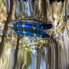 Case XX Peanut blue - white opal matrix lacy silver spacers Run of 25