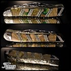Case xx Peanut with genuine forest green and yellow mammoth ivory matrix inlaid with wolf lichen Run of 5