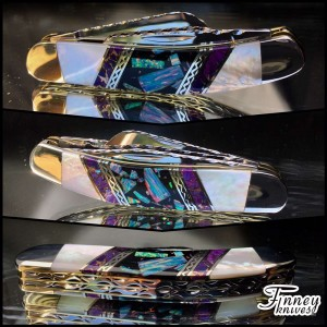 Case XX Sowbelly with opal matrix inlaid with purple Mojave turquoise and mother of pearl. Silver lacy spacers. 1 of 1