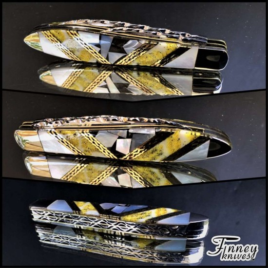 Case XX Teardrop with pearl and pearl matrix inlaid with yellow fossil coral Prototype