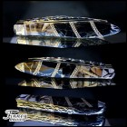 Case xx Teardrop with genuine cream mammoth ivory matrix with black stone gold matrix proto