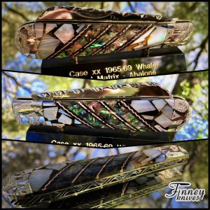 Case xx 1965-69 Whaler with genuine abalone and black gold pearl matrix with copper lacy spacers