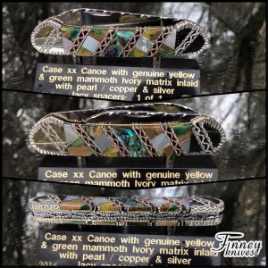 Case XX Canoe with genuine yellow-green mammoth ivory matrix - abalone - and pearl 1 of 1