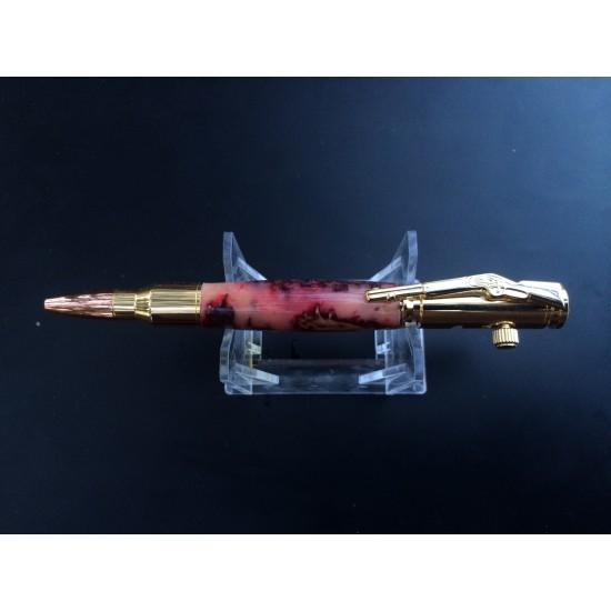 Custom 30 Caliber Bolt Action 24kt Gold Bullet Cartridge Pen with reddish pink pine cone handle