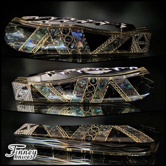 Remington 2012 - 30th R1123 Bullet Knife Abalone - opals - black stone gold matrix prototype