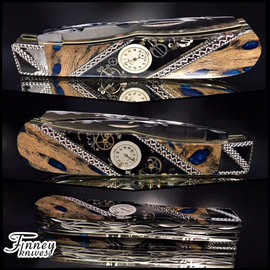 Remington 2012 - 30th anniversary knife with stabilized cholla cactus inlaid with vintage watch parts