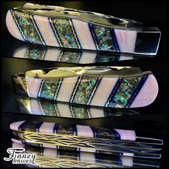 Remington 2012 - 30th anniversary R1123 Bullet Knife Pink Conch Shell  inlaid with abalone