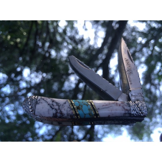 Apprentice Custom Schrade IMP13 with Turquoise and Wildhorse Jasper 1 of 1