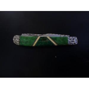 Custom Schrade IMP13 with Green Turquoise and Arizona Jade